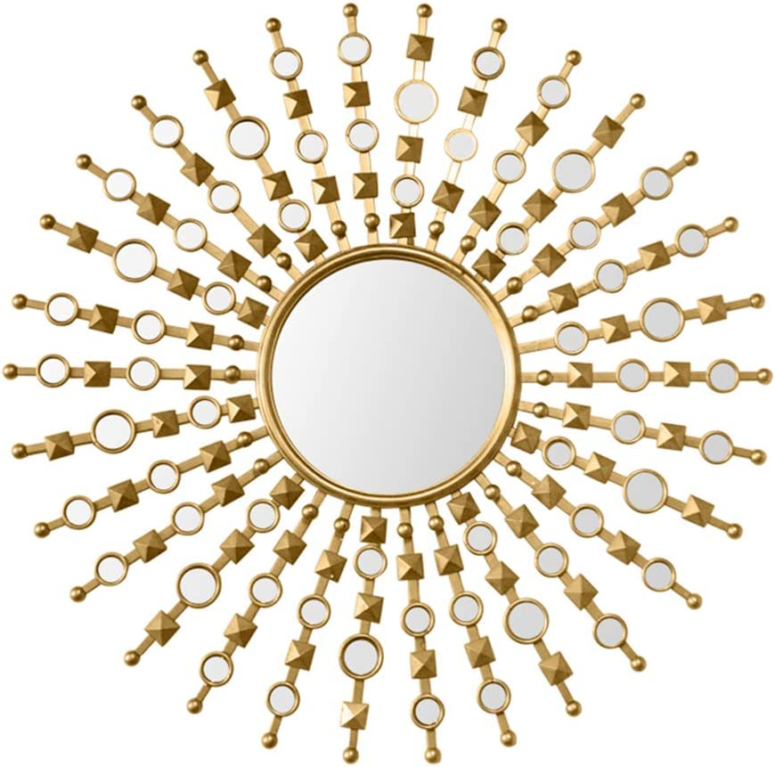 Decorative Starburst Wall Mirror Metal Wall Mirror Wall Hanging Mirror In Sunburst Shape Sunburst Mirror For Dining Room Living Room Hallway Gold 90x90cm Amazon Co Uk Kitchen Home