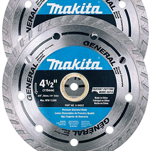 """Makita 2 Pack - 4.5"""" Turbo Diamond Blades For Grinders & Circular Saws - Ultra-Fast Cutting For Concrete, Masonry & Brick - 5/8"""", 20mm & 7/8"""" Arbors"""