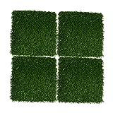 DSFSAEG 4 unidades de césped artificial con agujero de drenaje cuadrado Mat simulación de césped decoración de jardín, 11.81 x 30 x 2.5 x 0.3 pulgadas