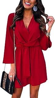 Women's Long Sleeve Chiffon Mini Dress V Neck Tie Waist Shirt Dress