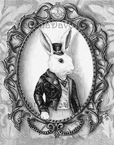 Amazon Com White Rabbit Art Print Alice In Wonderland Art Bunny Art Wall Art Home Decor Victorian Rabbit Fairy Tale Artwork 8x10 11x14 Handmade