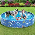 Dycsin Dog Pool Foldable Hard Plastic Swimming Bath Pet Pool for Large Dogs Outdoor PVC Portable Collapsible Kiddie Pool,63 x 12 inch
