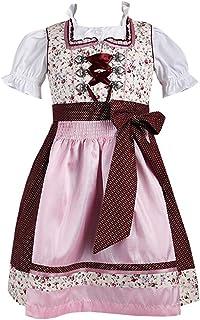 Krüger Dirndl Krüger Kids Kinderdirndl 44651 beige Blümchen rosa rot inklusive Dirndlbluse