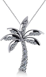 Diamond Tropical Palm Tree Pendant Necklace Set in 14k White Gold (0.50ct)
