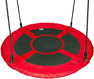 """Gaorui 100cm 40"""" Tree Swing Spinner Kids Swing Seat Saucer Nest Swing Round Ring Large Tire Swing – 200 KG Weight Capacity, Fully Assembled, Easy to Install Red"""
