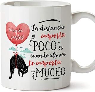 MUGFFINS Taza San Valentín (Te quiero) - Distancia importa poco - Regalos Originales y Divertidos de Aniversario para Novi...