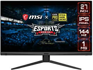 "MSI Full HD Gaming Non-Glare Super Narrow Bezel 1ms 1920 x 1080 144Hz Refresh Rate Adjustable Height Arm FreeSync 27"" IPS ..."