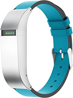 ANCOOL Compatible with Fitbit Flex Watch Band Men Women, Durable Leather Replacement Wristband Strap with Metal Case for Fitbit Flex (Blue Silver)