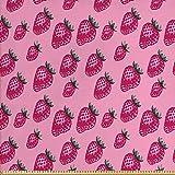 ABAKUHAUS Obst Stoff als Meterware, Pop Art Stil Erdbeere,