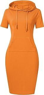 785d3bf1fad MISSKY Women Pullover Stripe Pocket Knee Length Slim Sweatshirt Causal  Hoodie Dress