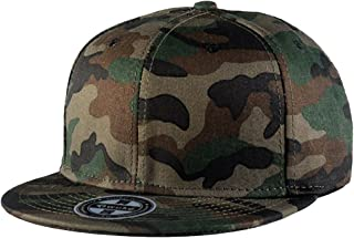 TESOON Plain Two-Tone Flat Bill Snapback Hat Camouflage Cap