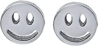 Gem Stone King Eye Catching Stainless Steel Smiley Face Stud Earrings