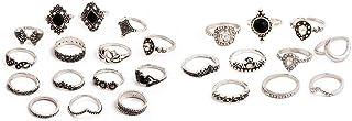 DMtse X 25 Retro Bohemia Rings Fashion Jewelry Crystal Random Shape Style