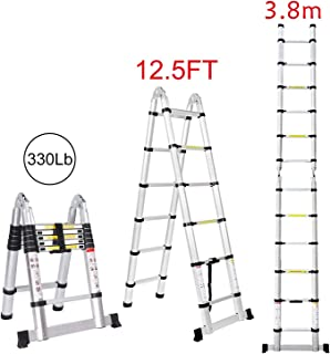12.5FT/3.8M Aluminum Telescoping Extension Ladder Portable Multi-Purpose Folding A-Frame Ladder with Hinges