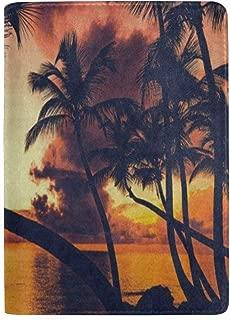 Passport Holder Orange Sunset Palm Tree Beach Passport Cover Case Wallet Card Storage Organizer for Men Women Kids 5.5 inch