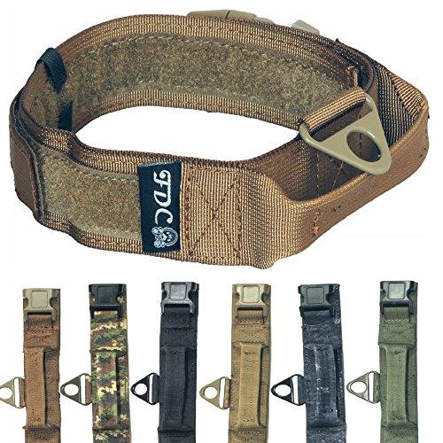 HEAVY DUTY Military Army Tactical K9 Dog Collars Handle HOOK & LOOP Width 1.5in Plastic Buckle Medium Large (L: Neck 12' - 14', MILITARY BROWN)