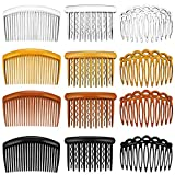 12 Pieces French Hair Side Clip Combs Set Plastic Twist Combs Hair Clips Strong Hold Hair Comb Clips Curved Teeth Hair Comb Clips, 11 Teeth, 17 Teeth, 23 Teeth