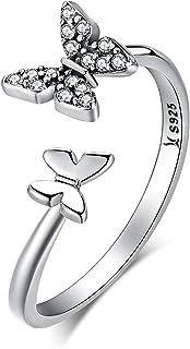 XOYOYZU 925 الفضة الاسترليني فراشة الأبيض المولد تشيكوسلوفاكيا حلقة قابلة للتوسيع خواتم مفتوحة قابلة للتعديل للنساء مجوهرات