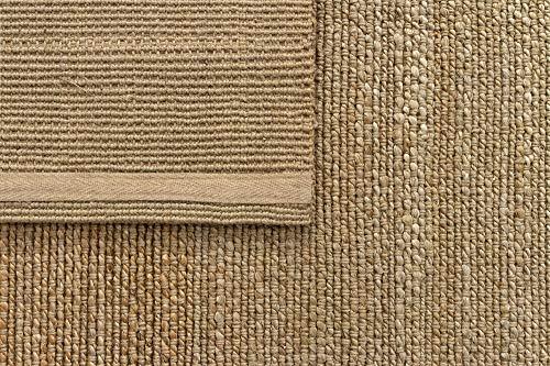 HAMID Juteteppich - Giralda Teppich 100% Natürliche Jutefaser - Weicher Teppich und Hohe Festigkeit - Handgewebt - Wohnzimmer, Esszimmer, Schlafzimmer, Flurteppich - Natürlich (170x120cm) - 7