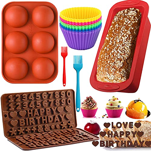 Silicone 16Pcs Baking Pan Set Molds Bread Loaf Pan 10 Muffin Cups Mold 2 Number Letter Chocolate Molds with 2 Basting Pastry Brush for Homemade Kitchen Cake Birthday Candy Biscuit (Letters+ Loaf Pan)