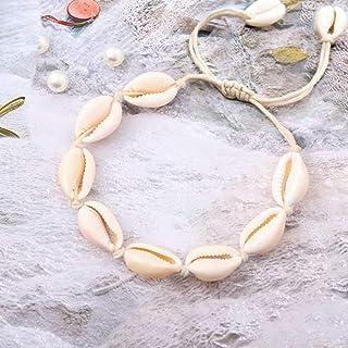 Yean Tobillera de concha bohemia para mujer, pulsera de tobillo de moda para mujeres y niñas, color blanco