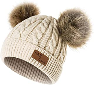 Infant Toddler Beanie Woolen Hat 🎅 Pure Color Winter Twist Double Pom Pom Wool Knitted Cap for 0-3 Years Old