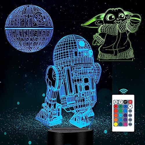 ANVRIL ELF Lámpara de ilusión 3D de Star Wars para niños, luz de noche 3D Baby Yoda con control remoto de sincronización y cambio de 16 colores, Star Wars Mandalorian Baby Yoda (3 patrones)