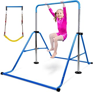 Gymnastics Bar for Kids with Swing Seat Set, 5-Levels Height Adjustable Folding Gymnastic Junior Training Bar Children Mon...