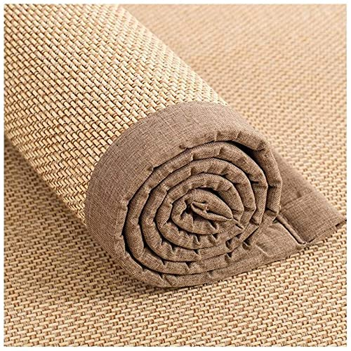 Alfombra Alfombra de bambú Alfombrilla antideslizante, Alfombra de bambú tradicional japonesa con borde de lino, Alfombrillas de madera de 1,4 cm de grosor, Color natural ( Size : 90x180cm(3ft×6ft) )