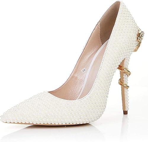 XWQYY Talons Hauts Sexy pour Femmes, Perles de mariée, Chaussures Chaussures de mariée,blanc-38EU