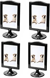 Leoyoubei Pack of 4 Vertical Stand Photo Frame Double Sided Frame Each Frame Holds 2 Pictures 4x6 inch,Display Postcards,Tickets,Plant Specimen,menu Box,Price tag,Culture Card Stand Black