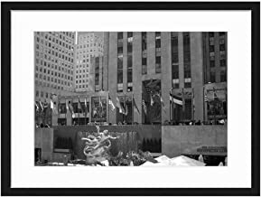 Wood Framed Canvas Artwork Home Decore Wall Art (Black White 20x14 inch) - New York Rockefeller Center Flags Gold Statue NYC
