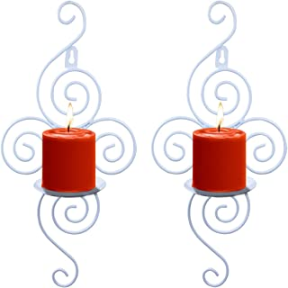 Wall Candle Sconces,Set of 2 Metal Rustic Wall Hanging Candle Holders Decor for Living Room Home Decorations,Weddings,Events-White