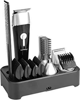 SUPRENT Beard Trimmer for Men Cordless Hair CIippers with USB Fast Charge, Hair Mustache Trimmer IPX6 Waterproof Design Professional Grooming Kit with Sideburns, Facial, Nose Hair shaver