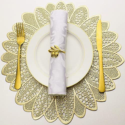 Evevda - Juego de 6 manteles individuales para mesa de comedor, redondos, redondos, huecos, de vinilo metálico prensado, plástico,...