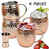 Wellead Moscow Mule Becher, 4 Kupferbecher Großartig für Jedes Gekühlte Getränk, Kupfertassen Bierglas Cocktail, 1 Jigger