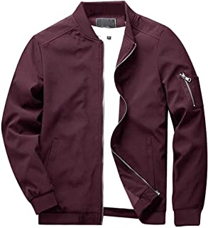 Sponsored Ad - CRYSULLY Men`s Spring Fall Casual Slim Fit Thin Lightweight Outwear Sportswear Bomber Jacket Coat