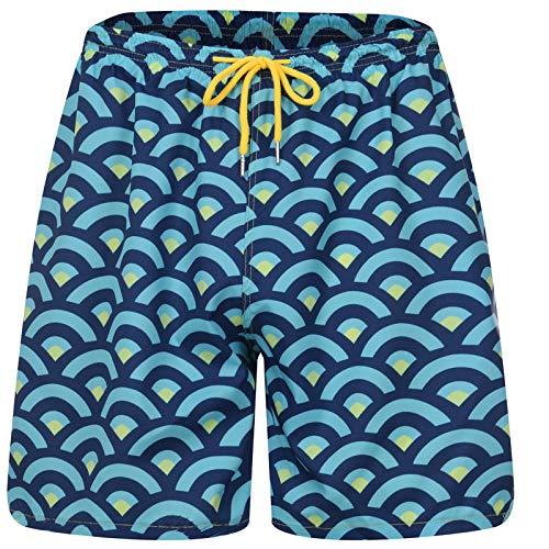 YHIIen Bañador para hombre, de secado rápido, para playa, deportes, correr, surf, con forro de malla y cordón ajustable, 100% poliéster, con bolsillos