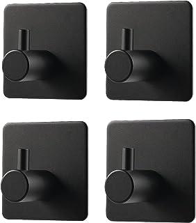 Zelfklevende haken, 4 Pack deurhaken roestvrij staal 3M zelfklevende wandhanger handdoekhouder kapstok, kleverige haken vo...