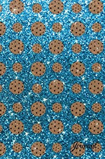Journal: Faux sky blue glitter chocolate chip cookies notebook