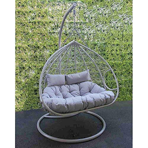 Rattan Hanging Egg Chair | Swing Seat Chair For Gardens, Patio, Decking With Cream Cushion | Single Or Double Seat Outdoor Furniture (Double)