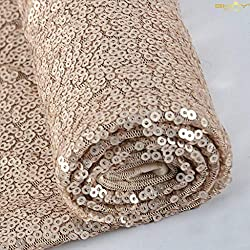 1 Yard Champagne Sequin Fabric for Sewing