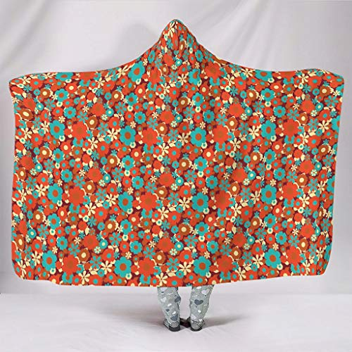 WellWellWell Daisy Flower Plants Cuddly Blanket with Hood Warm Blanket Travel Blanket for Men Women White 130 x 150 cm