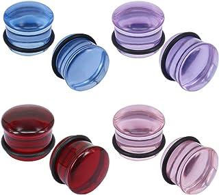 ZeSen Jewelry 4 Paia Dilatatori Orecchio Vetro Forma Fungo per Dilatare Il Lobo Dell'orecchio Kit Piercing 4G-5/8 inch
