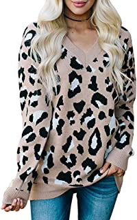 BTFBM Womens Sweaters Trendy Leopard Print V Neck Long Sleeve Cuffed Oversized Loose Fit Knit Lightweight Soft Pullover