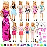 Miunana 33 Item = 10 Kleider + 10 Paar Schuhe + 13 Zubehör, Röcke Puppenzubehör Outfit Kleidung...