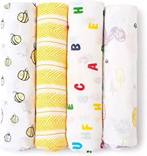 Mamimore Baby Swaddle Blankets Unisex Muslin Swaddle Blankets Soft Silky Bamboo Neutral Receiving Swaddle Wrap for Boys and Girls Newborn to Toddler 47x47 Inch 4 Pack (Yellow)