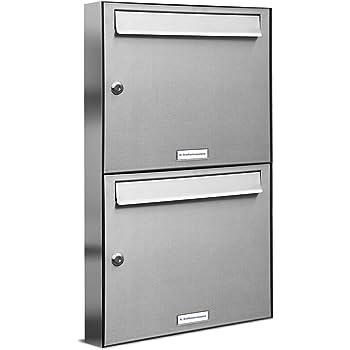 Burg-W/ächter Briefkastenanlage 2 Fach Briefkasten Set 2 Briefk/ästen mit Namensschild 64,4 x 36,2 x 10cm gro/ß Stahl silber DIN A4 2 Schl/üssel Montagematerial