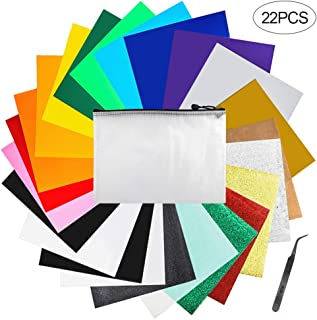 Iron on Vinyl Heat Transfer Vinyl 22 Pack includes 16 Pack Assorted Colors Sheets and 6 Pack Glitter Sheets for T-Shirts Works with Cricut, Silhouette Cameo(10in x 12in)