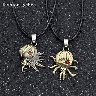 Flowe Mow 2pcs Anime Tokyo Ghoul Ken Kaneki Mask Pendant Necklace Long Rope Chain Couple Necklace
